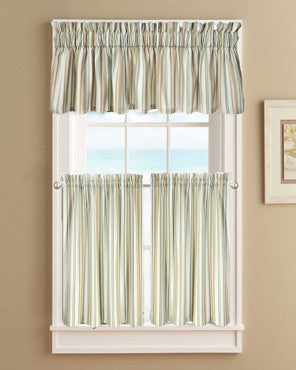 Charmant Spa Mason Stripe Kitchen Valance U0026 Tier Curtains Hanging On Curtain ...