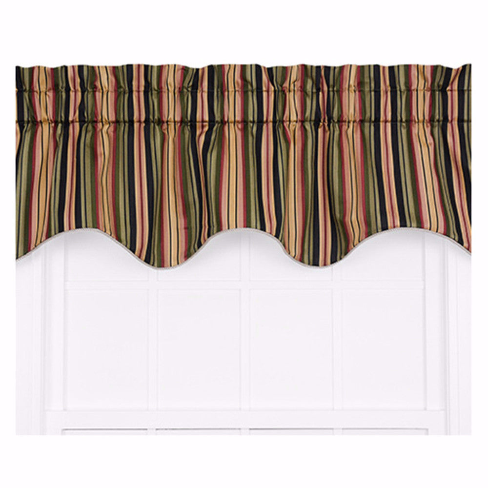 Mateo Stripe Curtain Valance hanging on a decorative rod