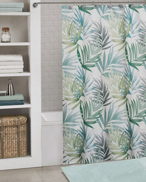 Multi Maui Fabric Shower Curtain hanging on a shower curtain rod