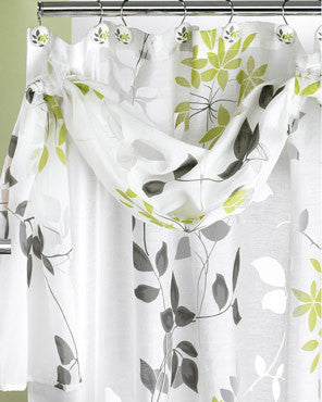 Lime Mayan Leaf Shower Curtain hanging on a shower curtain rod