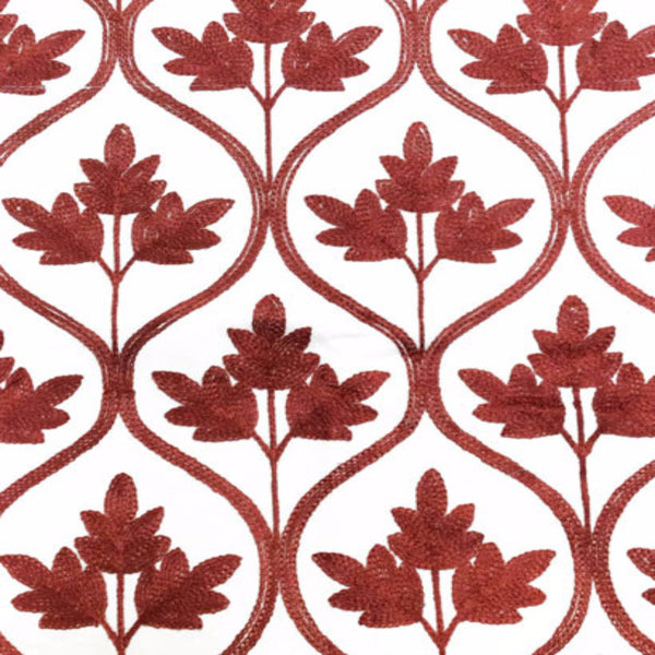 Closeup of red Mayfair Lined Embroidered Scalloped Valance fabric