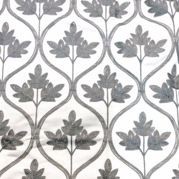 Closeup of Pewter Mayfair Lined Embroidered Scalloped Valance fabric
