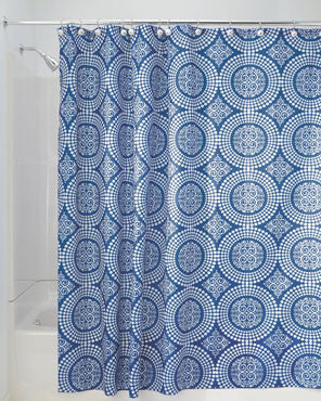Blue Medallion Shower Curtain hanging on a shower curtain rod