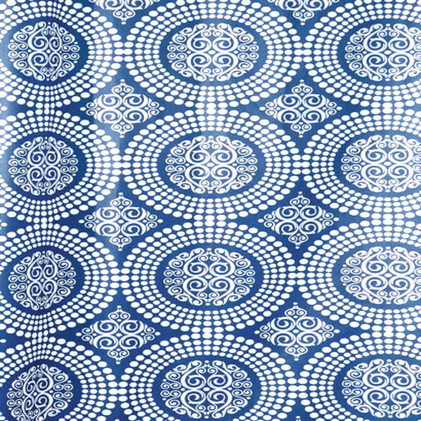 Close up shot of Blue Medallion Shower Curtain fabric