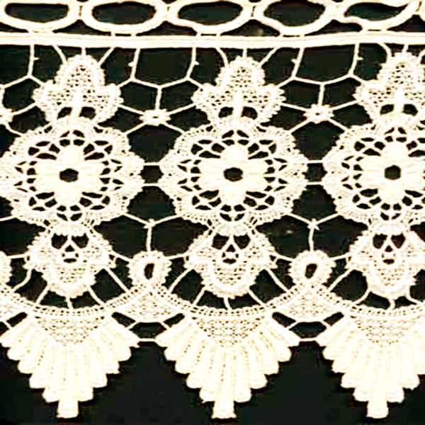 Closeup of Ecru Medallion Macrame Kitchen Valance and Tier Curtains