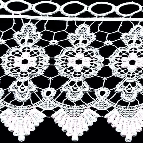 Closeup of White Medallion Macrame Kitchen Valance and Tier Curtains