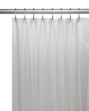 Mildew-Resistant Shower Curtain Liner hanging on a shower rod