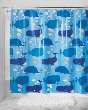 Moby Eva Vinyl Shower Curtain hanging on a shower