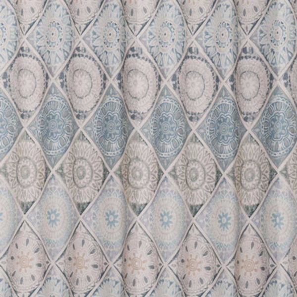Close up shot of Blue Modena Fabric Shower Curtain fabric