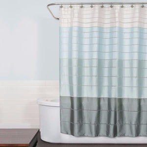 Pastel Modena Stripe Pastel Fabric Shower Curtain hanging on a shower curtain rod