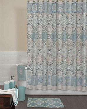 Blue Modena Fabric Shower Curtain hanging on a shower curtain rod
