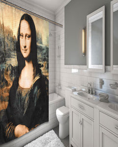 Multi Mona Lisa by Leonardo Da Vinci Shower Curtain hanging on a shower curtain rod