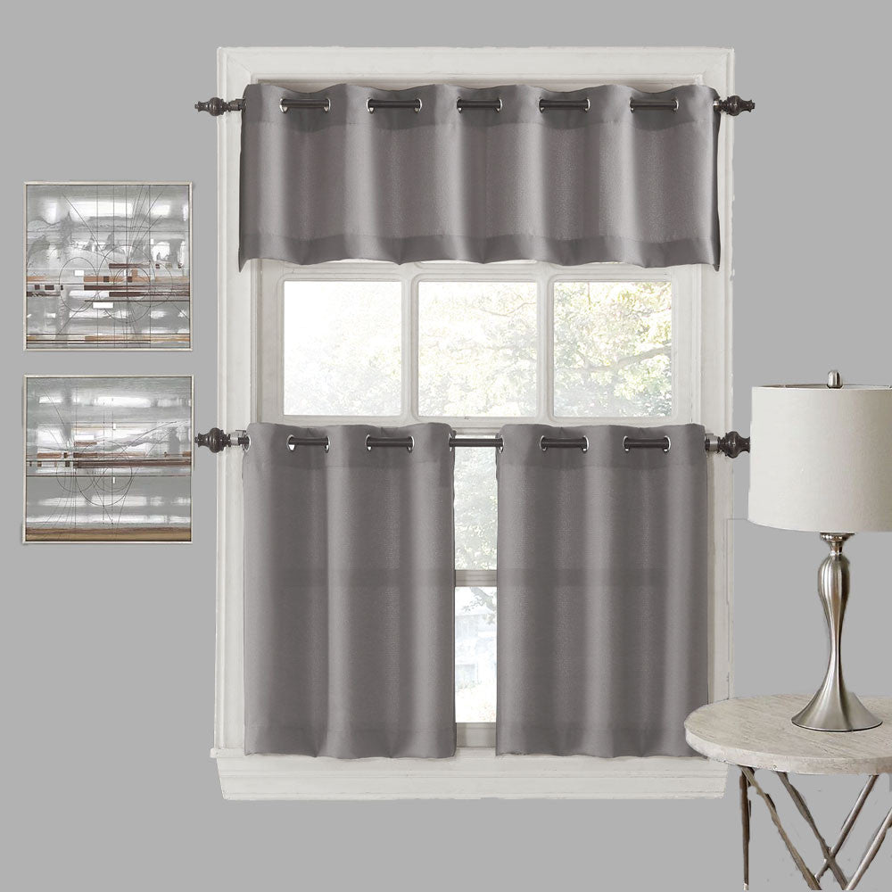 918 Montego Grommet Textured Kitchen Valance Tier Curtains Hanging On A Decorative