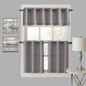 Nickel No. 918 Montego Grommet Textured Kitchen Valance & Tier Curtains hanging on a decorative rods