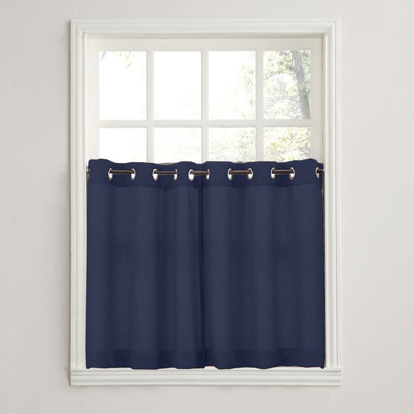 Navy No. 918 Montego Grommet Textured Kitchen Tier Curtains hanging on a decorative rods