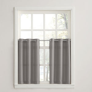 Nickel No. 918 Montego Grommet Textured Kitchen Tier Curtains hanging on a decorative rods