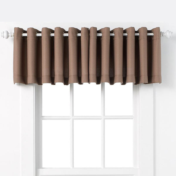 Mocha No. 918 Montego Grommet Textured Kitchen Valance hanging on a decorative rod