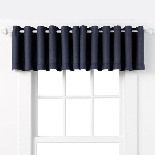 Navy Nickel No. 918 Montego Grommet Textured Kitchen Valance hanging on a decorative rod