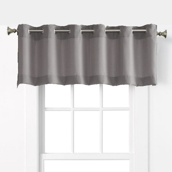 Nickel No. 918 Montego Grommet Textured Kitchen Valance hanging on a decorative rod