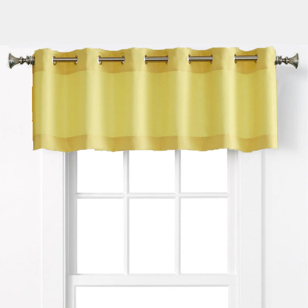 Yellow Nickel No. 918 Montego Grommet Textured Kitchen Valance hanging on a decorative rod