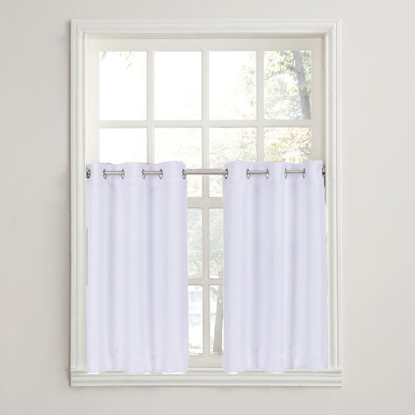 White No. 918 Montego Grommet Textured Kitchen Tier Curtains hanging on a decorative rods