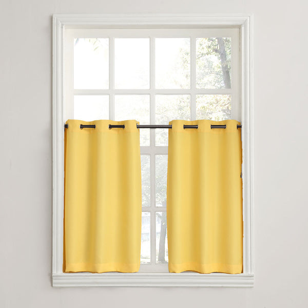Yellow No. 918 Montego Grommet Textured Kitchen Tier Curtains hanging on a decorative rods