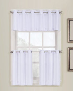 White No. 918 Montego Grommet Textured Kitchen Valance & Tier Curtains hanging on a decorative rods