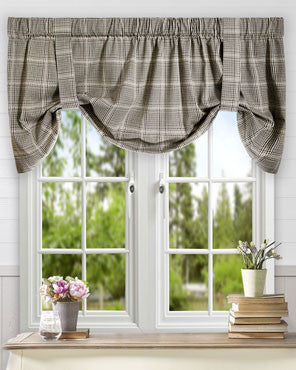 Morrison Lined Tie Up Valance hanging on a curtain rod