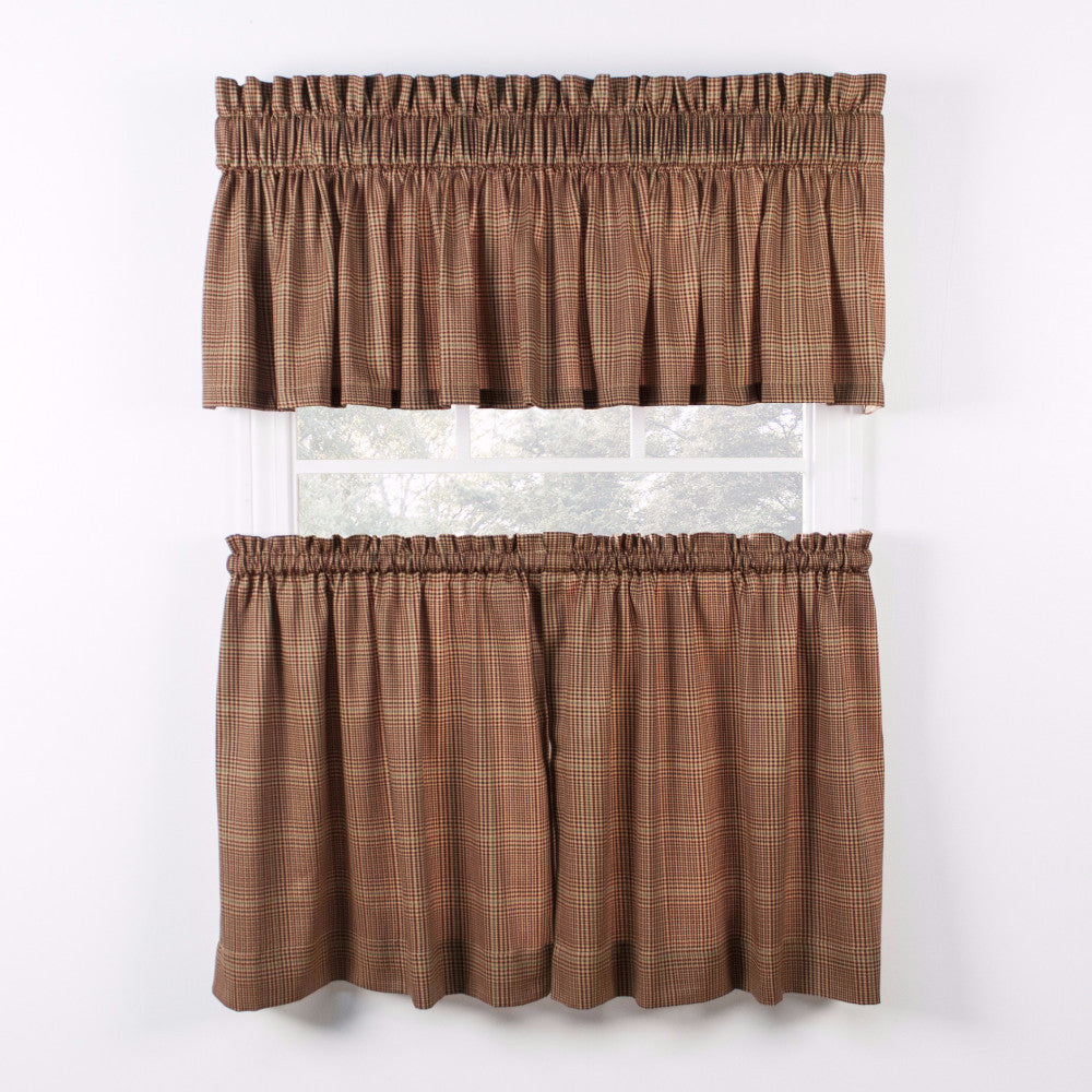 Rust Morrison Kitchen Valance & Tier Curtains hanging on curtain rods
