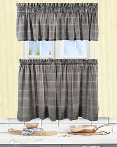 Black Morrison Kitchen Valance & Tier Curtains hanging on curtain rods