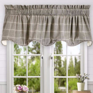 Morrison Lined Scalloped Valance hanging on a curtain rod
