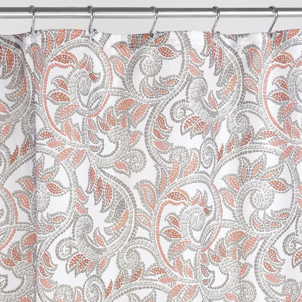 Up close shot of Multi Mosaic Vine Shower Curtain fabric