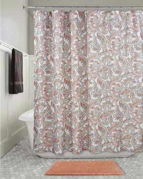 Multi Mosaic Vine Shower Curtain hanging on a shower curtain rod