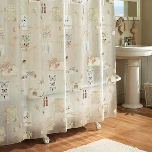 Nature's Moments Vinyl Shower Curtain hanging in a shower