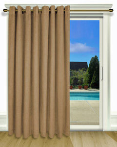 Toffee New Castle Grommet Top Patio Panel hanging on a decorative curtain rod