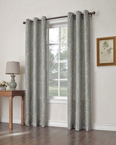 No. 918 Halle Woven Grommet Top Panel hanging on a decorative curtain rod