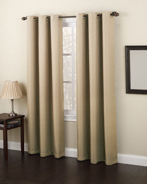 Taupe No. 918 Montego Grommet Top Textured Panel hanging on a decorative curtain rod
