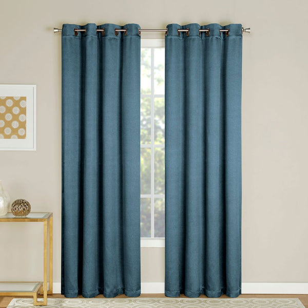 Colonial Nolan Room Darkening Grommet Top Panels hanging on decorative rod