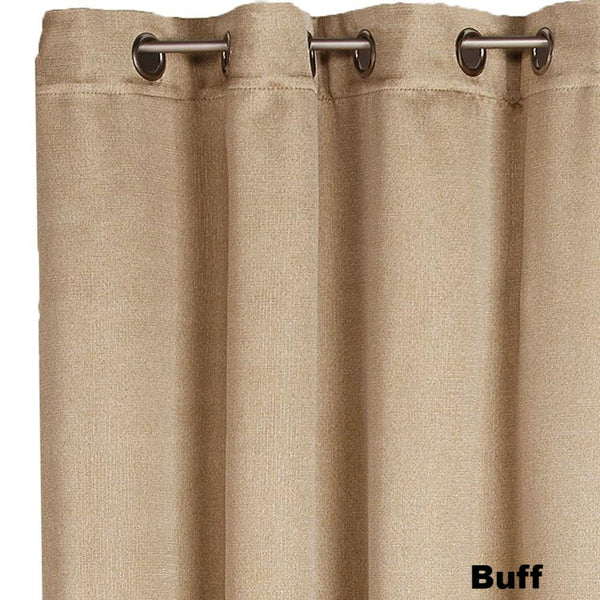 Closeup of buff Nolan Room Darkening Grommet Top Panels fabric and grommets