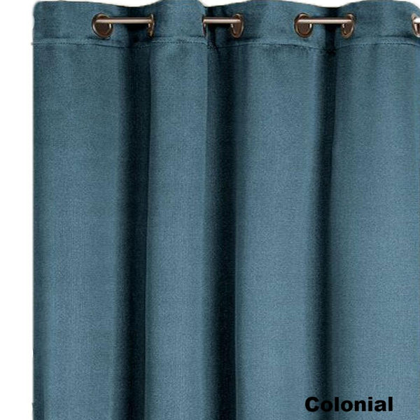Closeup of colonial Nolan Room Darkening Grommet Top Panels fabric and grommets
