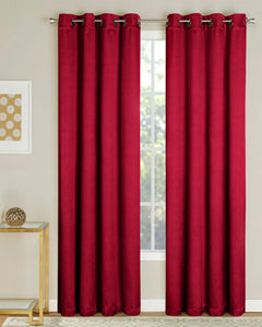 Crimson Nolan Room Darkening Grommet Top Panels hanging on decorative rod