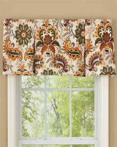 Oakley Paisley Lined Pleated Valance hanging on a curtain rod