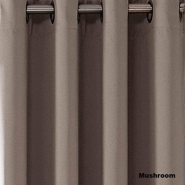 Closeup of Sun Zero Oslo Theater Grade Blackout Room Darkening Grommet Top Curtain Panel Mushroom