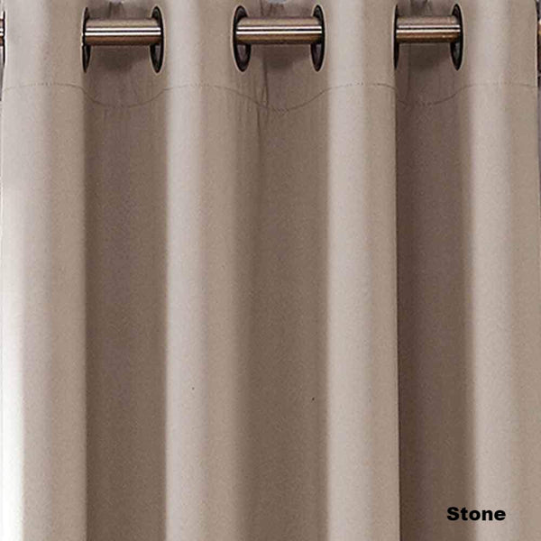 Closeup of Sun Zero Oslo Theater Grade Blackout Room Darkening Grommet Top Curtain Panel Stone