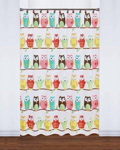 Owl Peva Vinyl Shower Curtain hanging on a shower rod