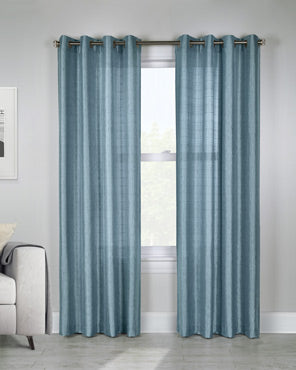 Mist Princess Semi Sheer Grommet Top Panel hanging on a decorative curtain rod