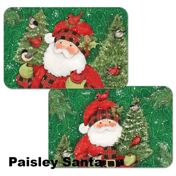 Paisley Santa Assortment Christmas Reversible Plastic Placemats