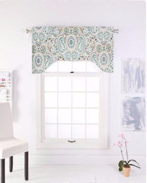 Paisley Prism Arch Valance hanging on a curtain rod