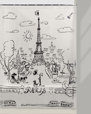 Paris Day Vinyl Shower Curtain hanging on a curtain rod