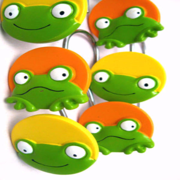 Peeking Frogs Shower Hooks , and Lotion/Soap Dispenser